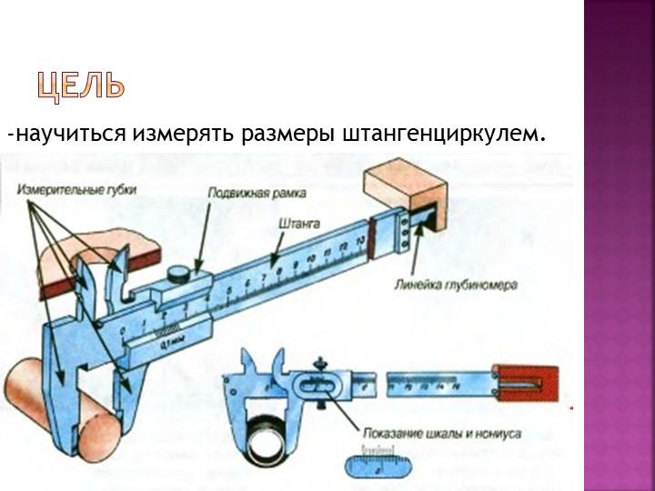 Цель-научиться измерять размеры штангенциркулем.