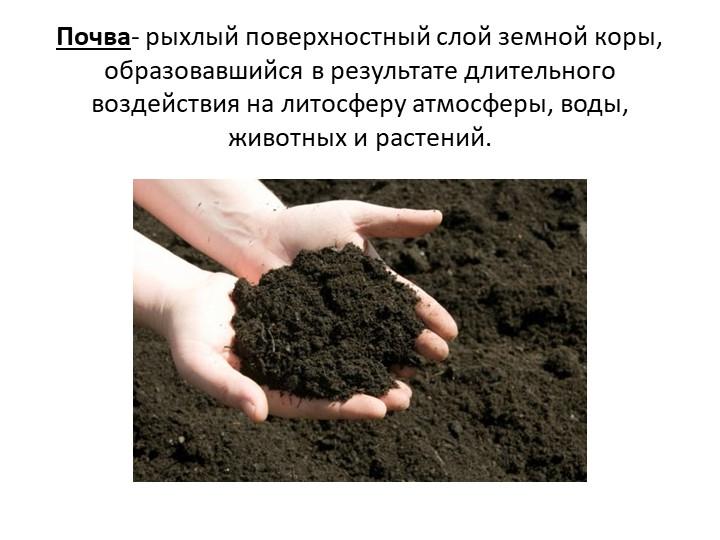 Почва- рыхлый поверхностный слой земной коры, образовавшийся в результате дли...
