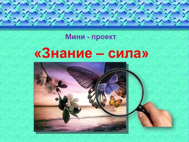 «Знание – сила» Мини - проект
