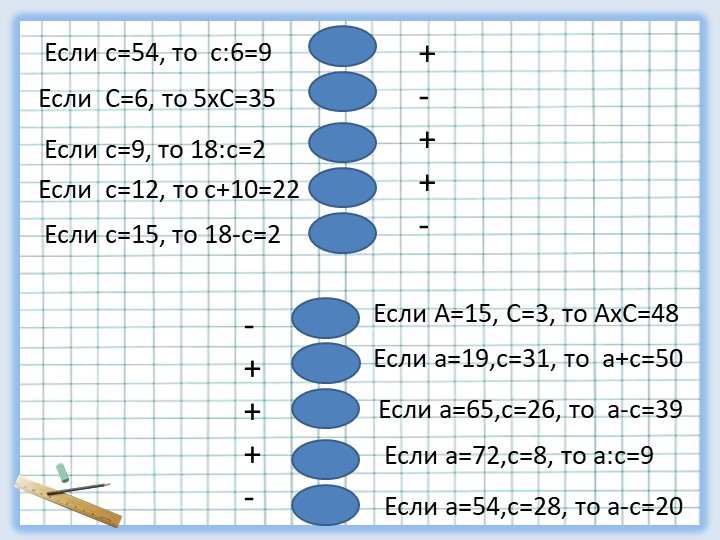 Если с=54, то  с:6=9Если  С=6, то 5хС=35Если с=9, то 18:с=2Если  с=12, то с+1...