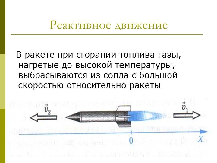 Реактивное движение    В ракете при сгорании топлива газы, нагретые до высок...