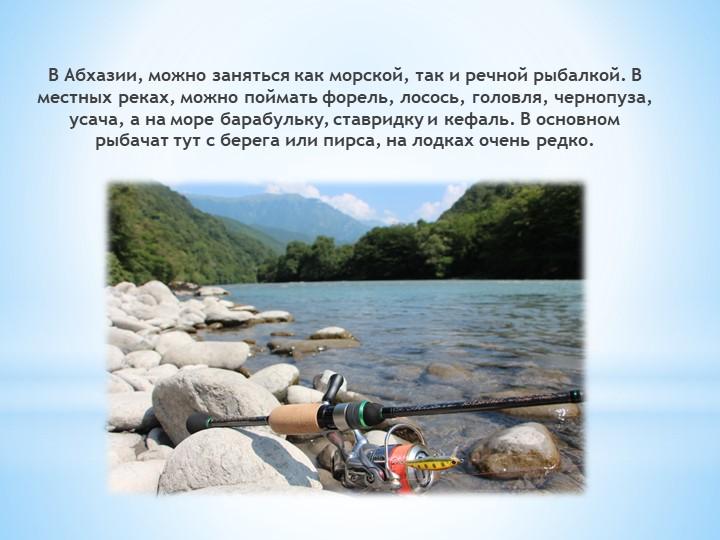 В Абхазии, можно заняться как морской, так и речной рыбалкой. В местных реках...