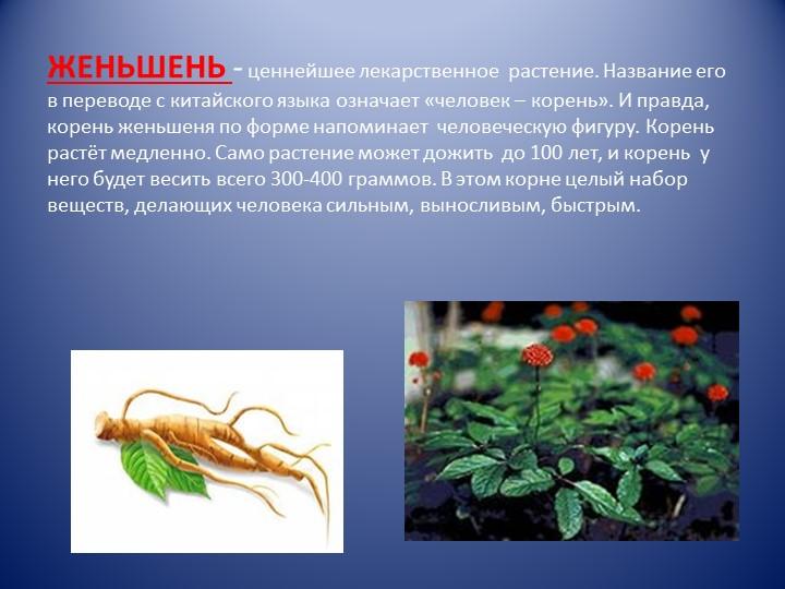 ЖЕНЬШЕНЬ - ценнейшее лекарственное  растение. Название его в переводе с китай...