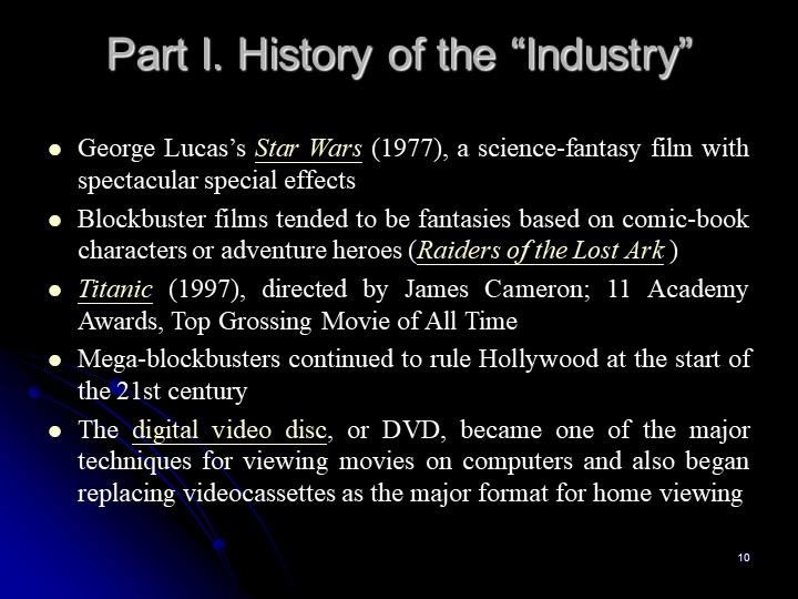 """10Part I. History of the """"Industry""""George Lucas's Star Wars (1977), a science..."""