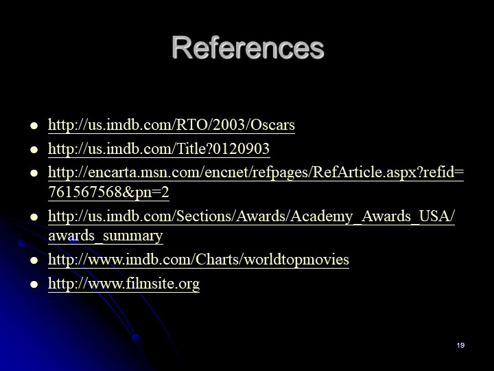 19Referenceshttp://us.imdb.com/RTO/2003/Oscarshttp://us.imdb.com/Title?01209...