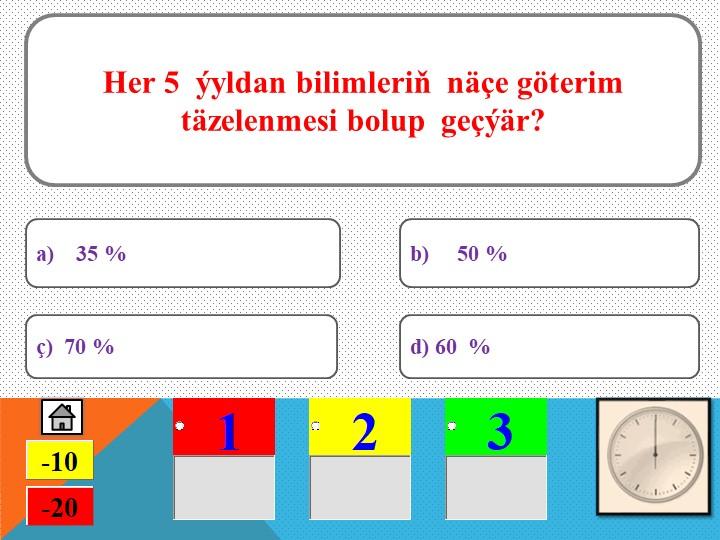 Her 5  ýyldan bilimleriň  näçe göterim täzelenmesi bolup  geçýär?ç)  70 %a)...