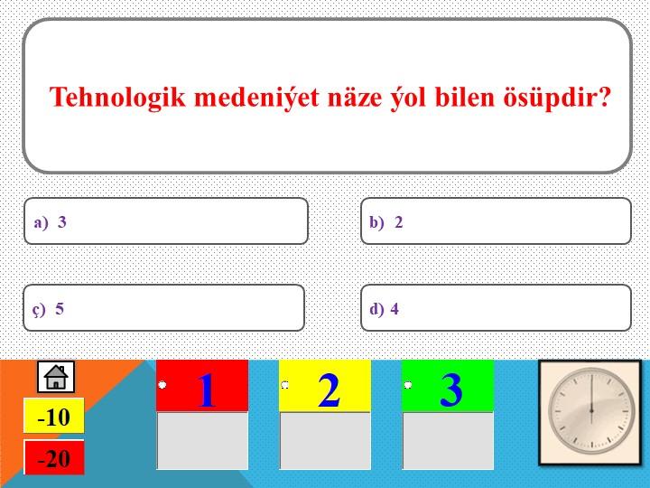 Tehnologik medeniýet näze ýol bilen ösüpdir?ç)  5a)  3d) 4b)  2