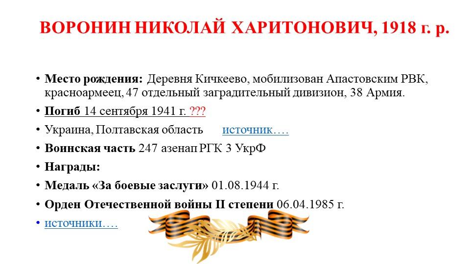 ВОРОНИН НИКОЛАЙ ХАРИТОНОВИЧ, 1918 г. р.Место рождения:Деревня Кичкеево, мо...