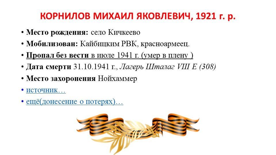 КОРНИЛОВ МИХАИЛ ЯКОВЛЕВИЧ, 1921 г. р.Место рождения:село КичкеевоМобилизов...