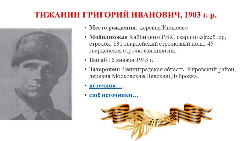 ТИЖАНИН ГРИГОРИЙ ИВАНОВИЧ, 1903г. р.Место рождения:деревня КичкеевоМобили...