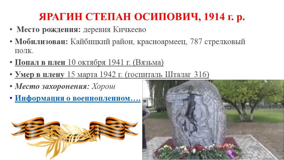 ЯРАГИН СТЕПАН ОСИПОВИЧ, 1914 г. р.Место рождения:деревня КичкеевоМобилизо...