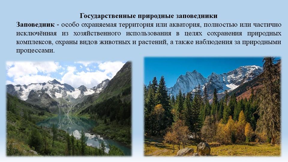 Государственные природные заповедники Заповедник - особо охраняемая территор...