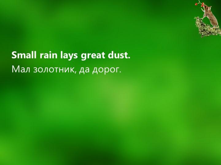 Small rain lays great dust.Мал золотник, да дорог.