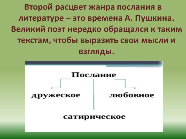 Второй расцвет жанра послания в литературе – это времена А. Пушкина. Великий...