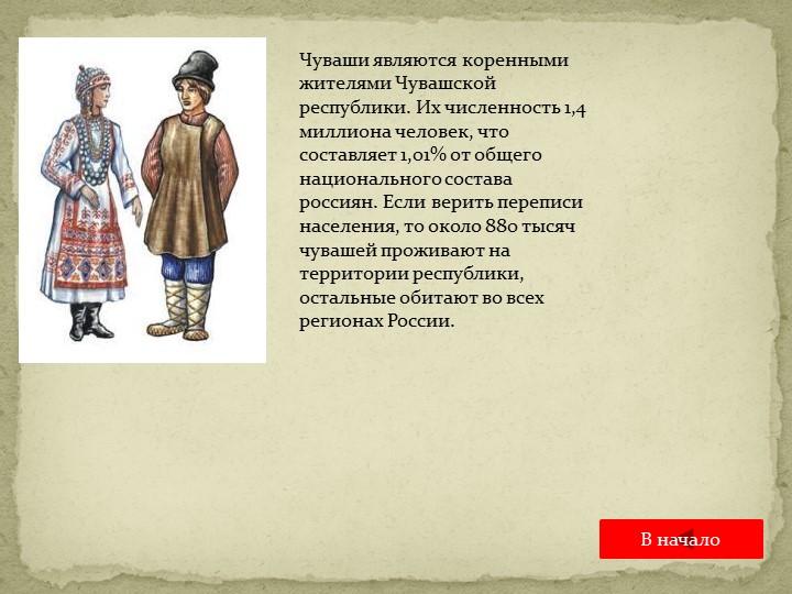 Чуваши являются коренными жителями Чувашской республики. Их численность 1,4 м...