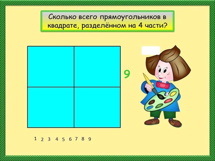 123456789Сколько всего прямоугольников в квадрате, разделённом на 4 части?9