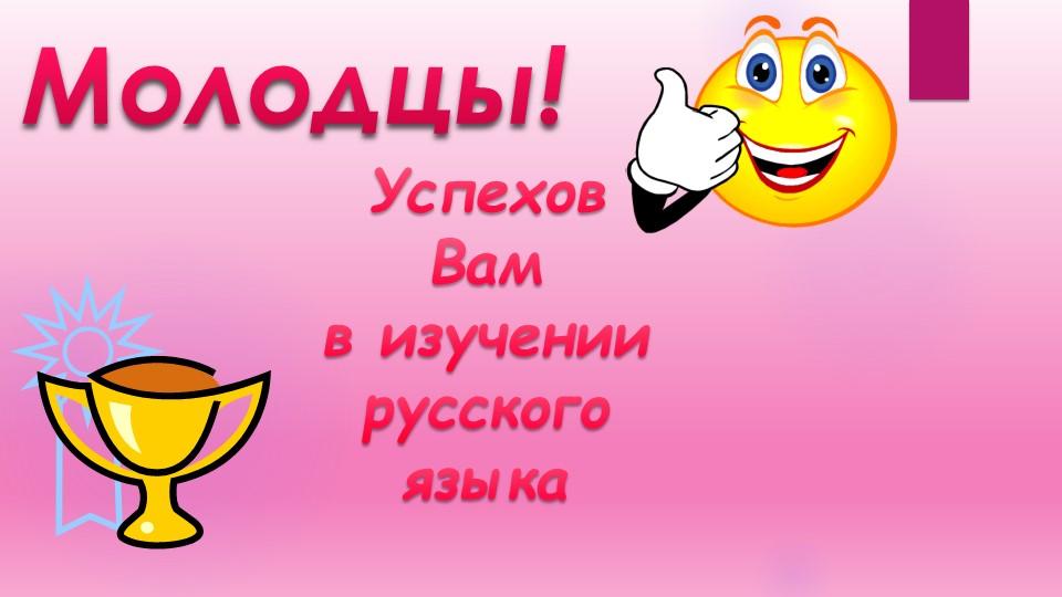 Молодцы!Успехов Вамв изучении русского языка