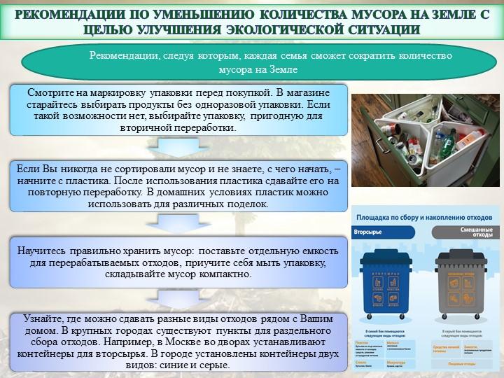 Рекомендации по уменьшению количества мусора на Земле с целью улучшения экол...