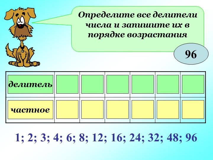 Определите все делители числа и запишите их в порядке возрастания96делительча...