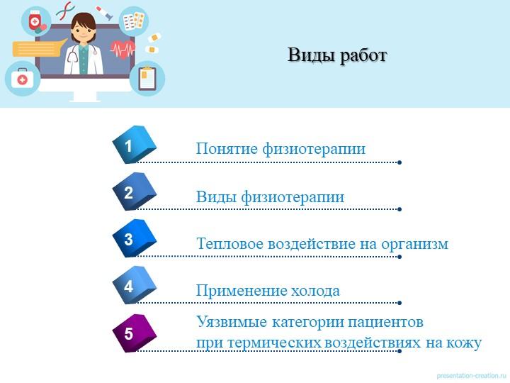 Виды работ4Понятие физиотерапии1235Виды физиотерапииТепловое воздействие на о...