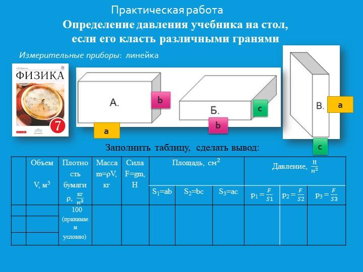 Практическая работаОпределение давления учебника на стол, если его класть ра...