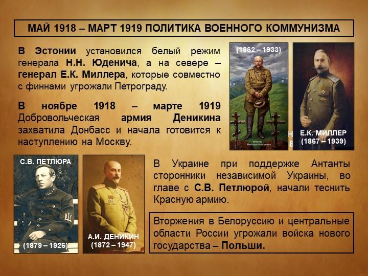 МАЙ 1918 – МАРТ 1919 ПОЛИТИКА ВОЕННОГО КОММУНИЗМАВ Эстонии установился белый...