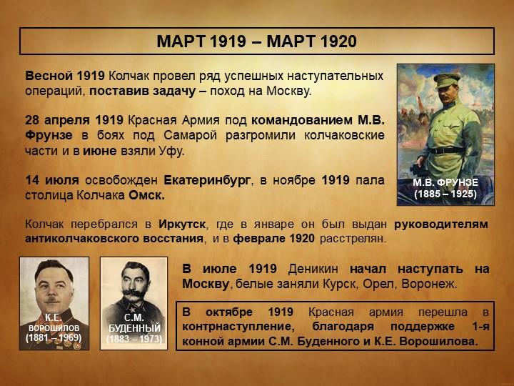 МАРТ 1919 – МАРТ 1920Весной 1919 Колчак провел ряд успешных наступательных оп...