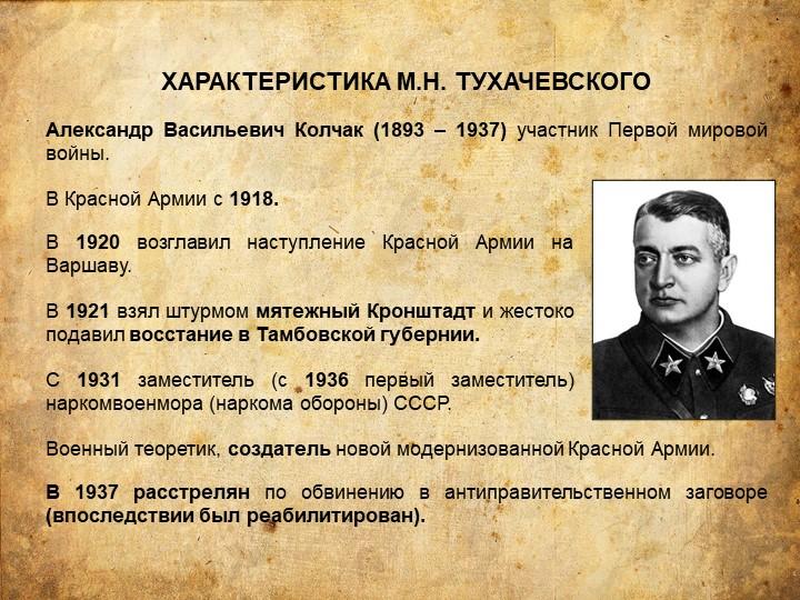 ХАРАКТЕРИСТИКА М.Н. ТУХАЧЕВСКОГОАлександр Васильевич Колчак (1893 – 1937) уча...
