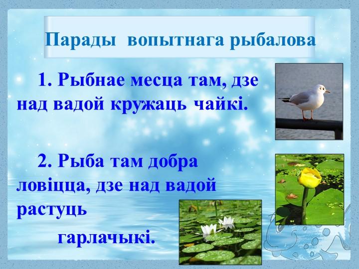 1. Рыбнае месца там, дзе над вадой кружаць чайкі.2. Рыба там добра ловіцца,...