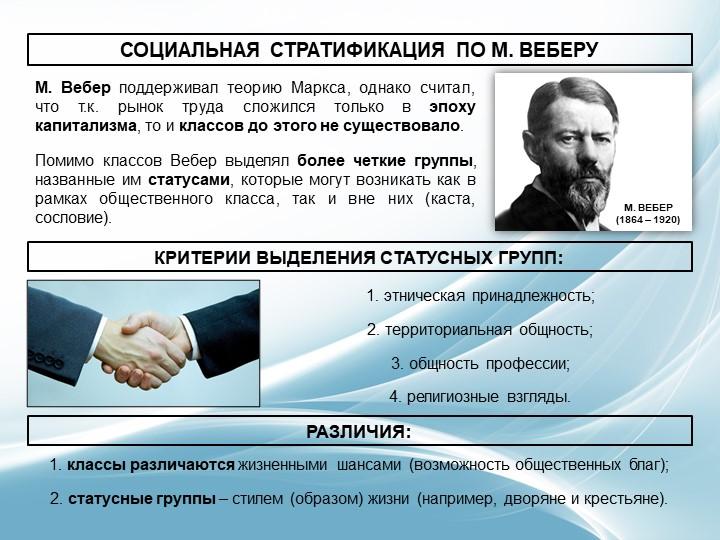СОЦИАЛЬНАЯ СТРАТИФИКАЦИЯ ПО М. ВЕБЕРУМ. Вебер поддерживал теорию Маркса, одна...