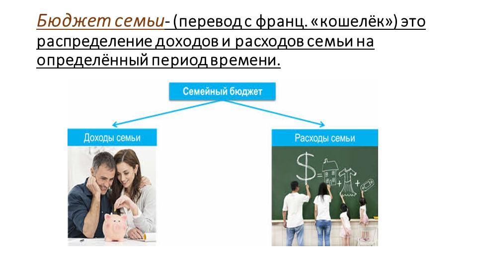 Бюджет семьи- (перевод с франц. «кошелёк») это распределение доходов и расход...