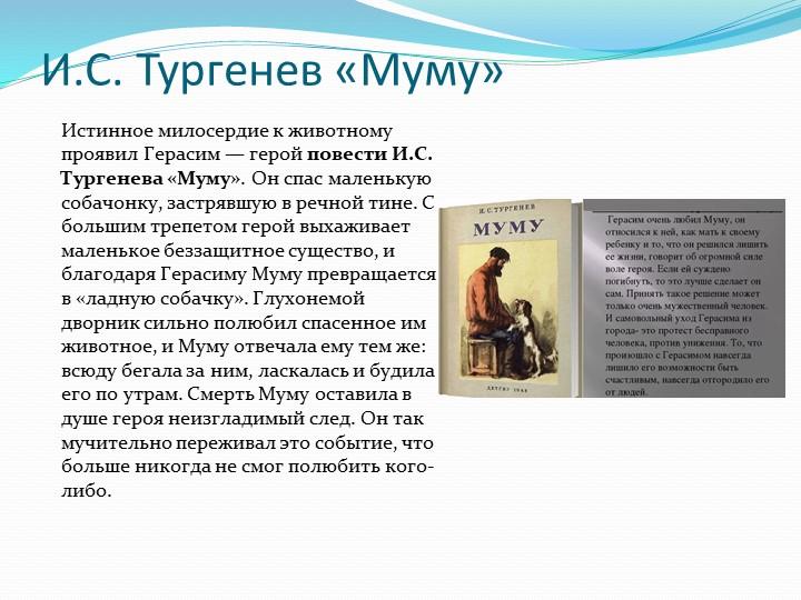 И.С. Тургенев «Муму»Истинное милосердие к животному проявил Герасим — геройп...