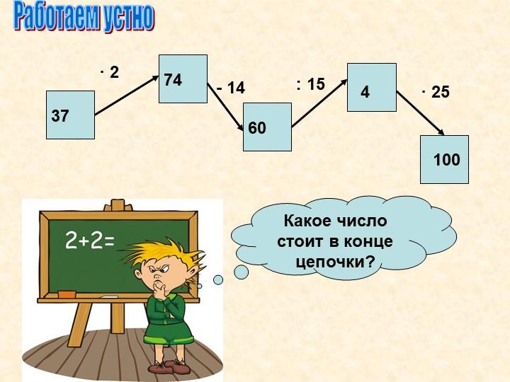 Работаем устно37· 274- 1460· 254: 15100Какое число стоит в конце цепочки?