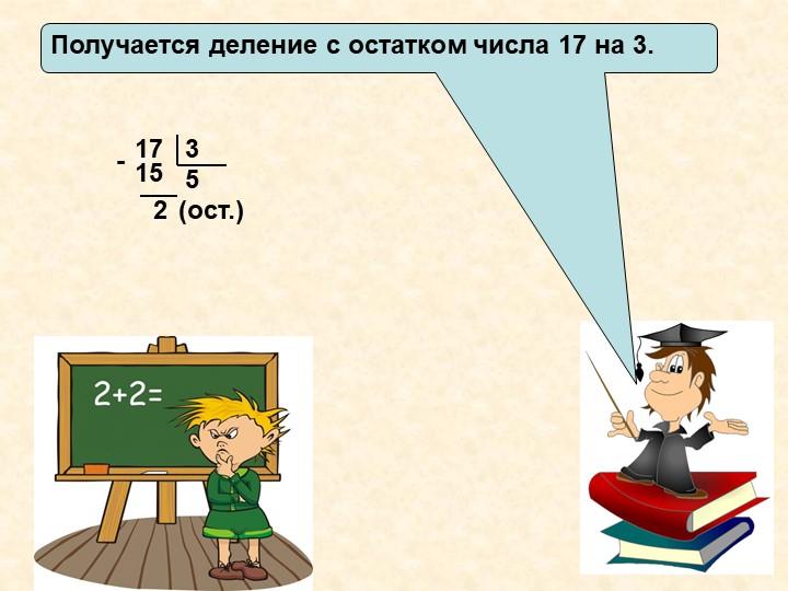 Получается деление с остатком числа 17 на 3.1735215-(ост.)