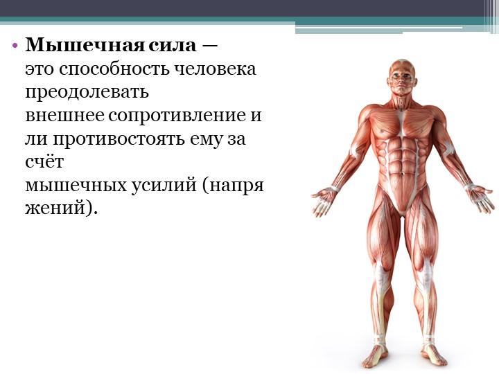 Мышечная сила— этоспособностьчеловекапреодолевать внешнеесопротивлениеи...