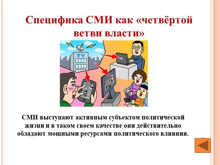 Специфика СМИ как «четвёртой ветви власти»СМИ выступают активным субъектом п...