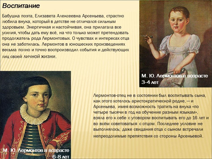 ВоспитаниеБабушка поэта, Елизавета Алексеевна Арсеньева, страстно любила внук...
