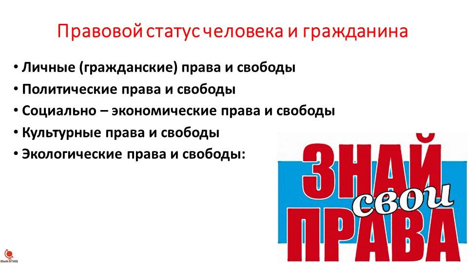Правовой статус человека и гражданинаЛичные (гражданские) права и свободыПо...