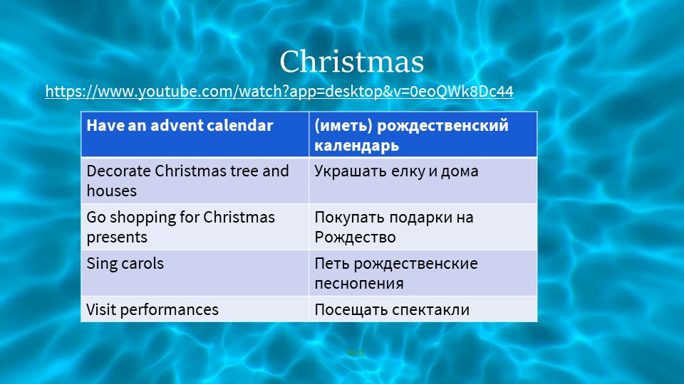 Christmashttps://www.youtube.com/watch?app=desktop&v=0eoQWk8Dc44Это BY