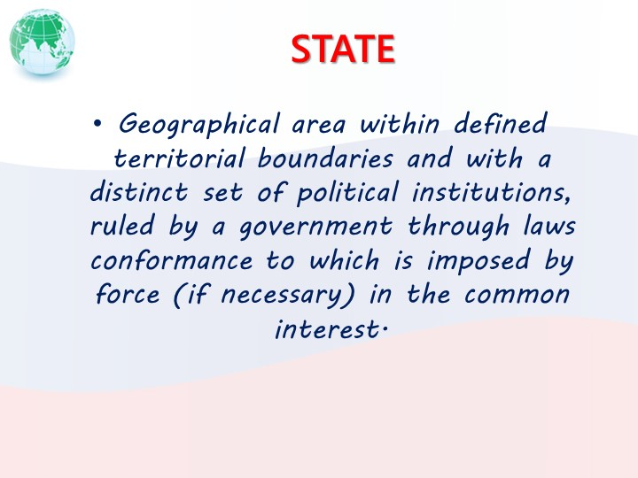 STATEGeographical area within defined territorial boundaries and with a disti...