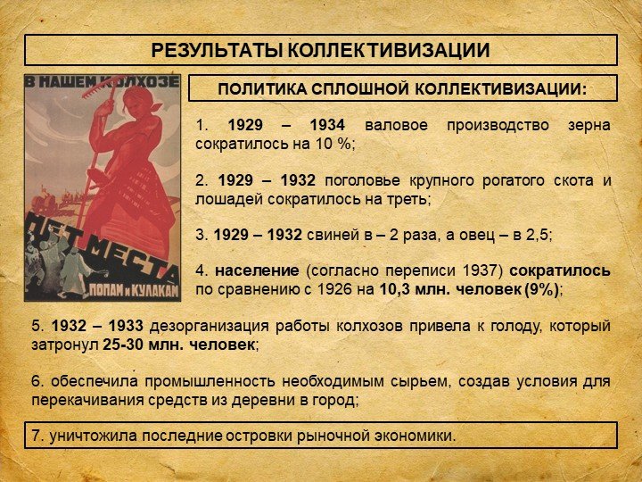 РЕЗУЛЬТАТЫ КОЛЛЕКТИВИЗАЦИИПОЛИТИКА СПЛОШНОЙ КОЛЛЕКТИВИЗАЦИИ:1. 1929 – 1934 ва...