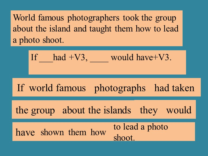 If ___had +V3, ____ would have+V3.