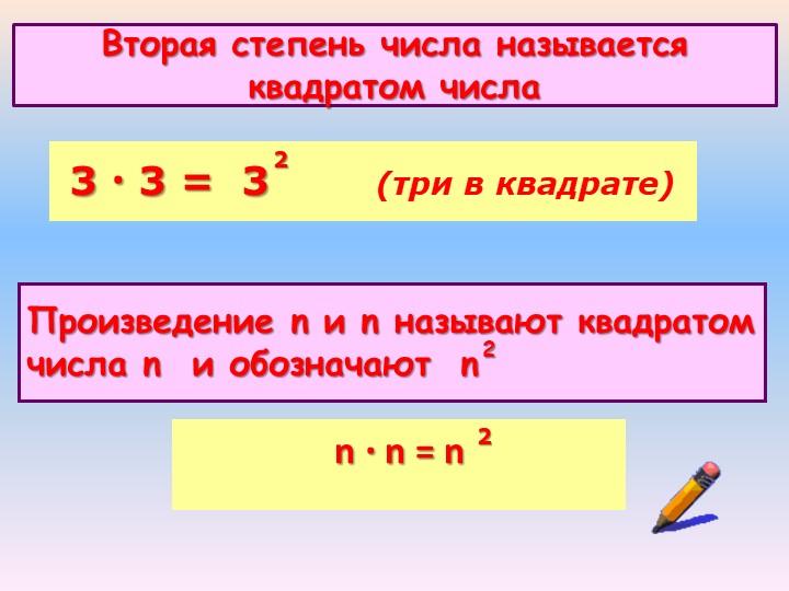 Вторая степень числа называется квадратом числа3 · 3 =  3        (три в квадр...