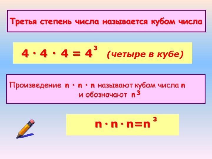 Третья степень числа называется кубом числа4 · 4 · 4 = 4    (четыре в кубе)Пр...