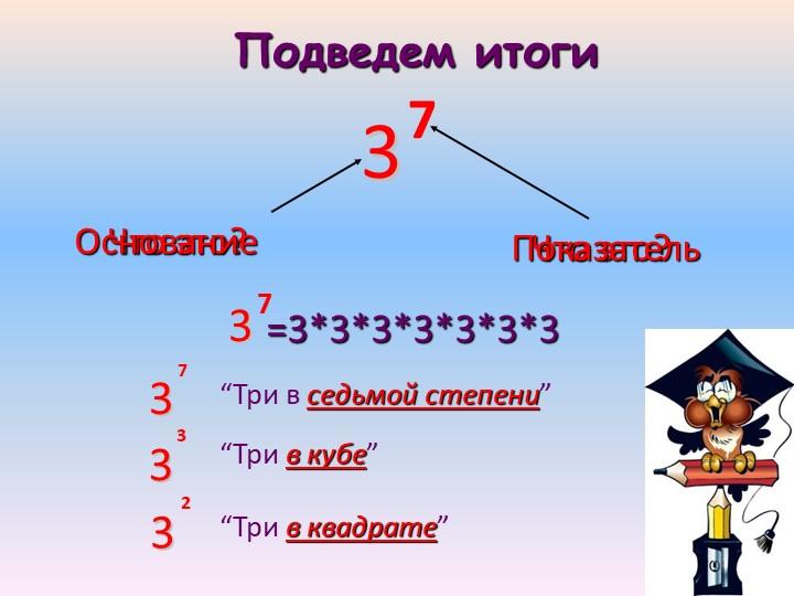 """Что это?ОснованиеПодведем итогиЧто это?Показатель=3*3*3*3*3*3*3""""Три в седьмой..."""