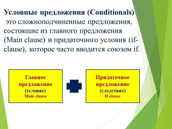 Условные предложения (Conditionals) этосложноподчиненные предложения, сос...