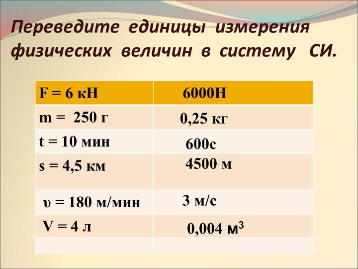 6000Н0,25 кг600с4500 м  3 м/с   Переведите  единицы  измерения физических  ве...