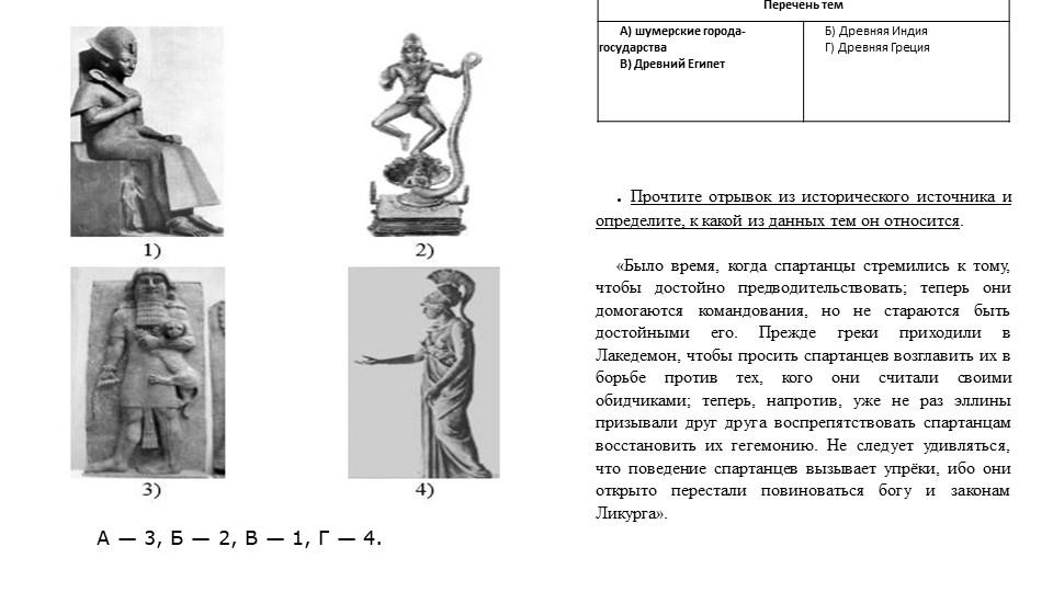 А— 3, Б— 2, В— 1, Г— 4..Прочтите отрывок из исторического источника и оп...