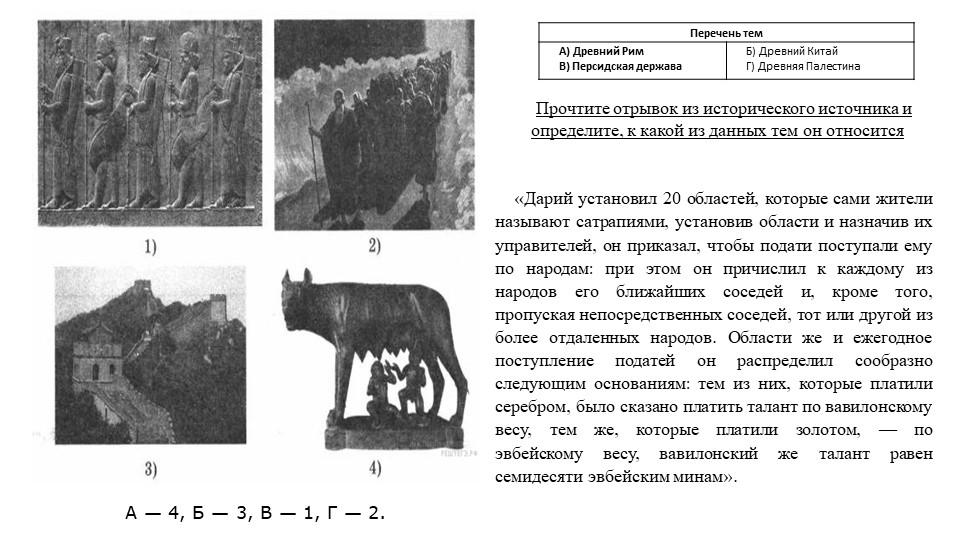 А— 4, Б— 3, В— 1, Г— 2.Прочтите отрывок из исторического источника и опр...