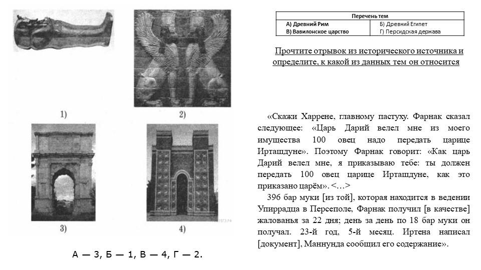 А— 3, Б— 1, В— 4, Г— 2.Прочтите отрывок из исторического источника и опр...